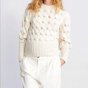 Zara cotton cable drama long-sleeve sweater